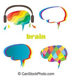 hjärna, mänsklig, vit, illustration, bakgrund