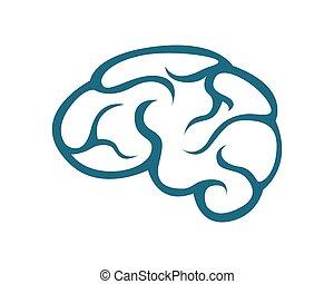 hjärna, mall, logo