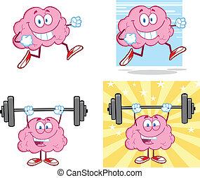 hjärna, maskot, 14, kollektion, tecknad film