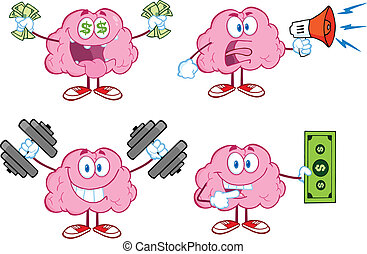 hjärna, maskot, 4, kollektion, tecknad film