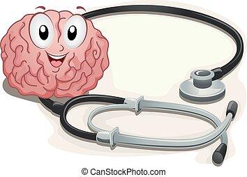 hjärna, maskot, stetoscope