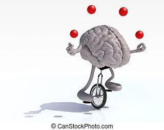 hjärna, med, havsarm och ben, jonglera, ritt, a, unicycle