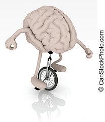 hjärna, med, havsarm och ben, ritt, a, unicycle