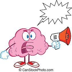 hjärna, megafon, skrika