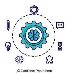 hjärna, sätta, fantastiskt, affärsverksamhet ikon