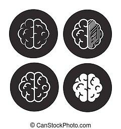 hjärna, sätta, ikonen