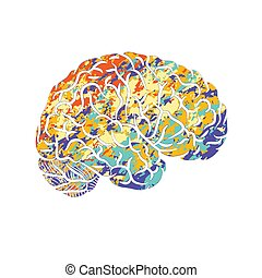 hjärna, silhuett, mänsklig