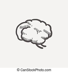 hjärna, skiss, mänsklig, ikon
