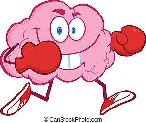 hjärna, spring, boxning handske