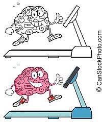 hjärna, spring, hälsosam
