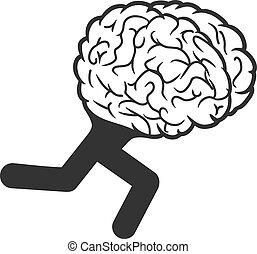 hjärna, spring, vektor, ikon