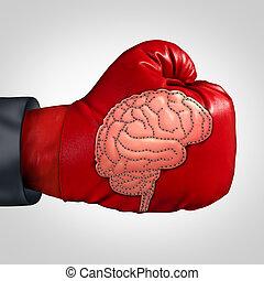 hjärna, stark, aktivitet
