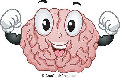 hjärna, stark, maskot