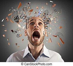 hjärna, stressa