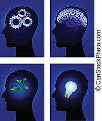 hjärna, symbol, mänsklig