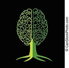 hjärna, symbol, träd, logo