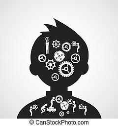 hjärna, symbol, utrustar