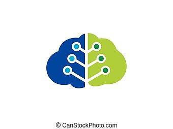 hjärna, symbol, vektor, teknologi, logo