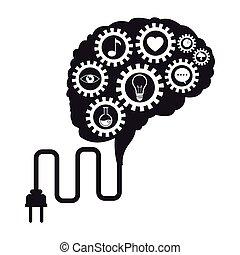 hjärna, teknologi, utrustar, social, media