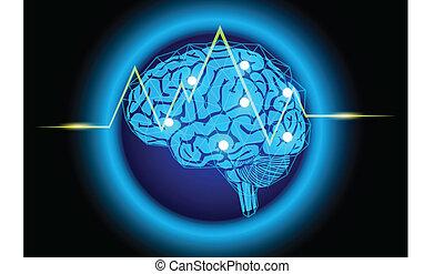 hjärna, thinking., bakgrund, begrepp