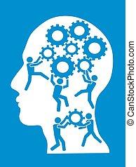 hjärna, utrustar, arbetande folken