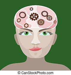 hjärna, utrustar, framsteg