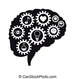 hjärna, utrustar, kommunikation, social, media
