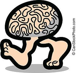 hjärna, vandrande, ben, två