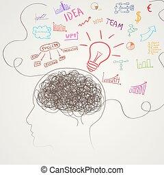 hjärna, vektor, affär, icons.
