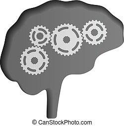 hjärna, vektor, mänsklig, ikon