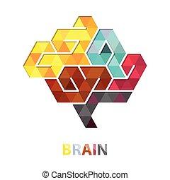 hjärna, vektor, polygon, abstrakt