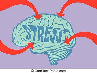 hjärna, vektor, stressa, illustration, ute