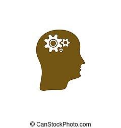 hjärna, vektor, utrustar, ikon