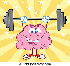 hjärna, vikter, lyftande, lycklig