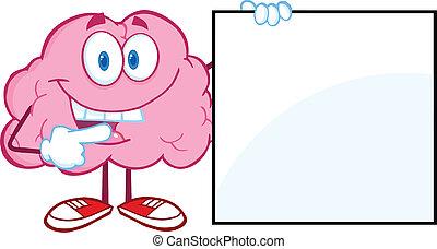 hjärna, visande, nit signera