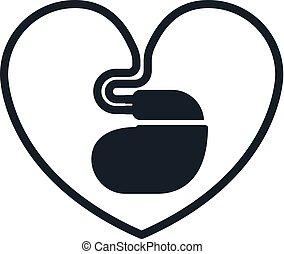 hjärt-, ikon, pacemaker, hjärtformig, binda med rep