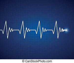 hjärt-, vektor, frekvens