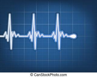 hjärta, 10, abstrakt, cardiogram., eps, taktslagen