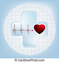 hjärta, 8, hjärtslag, eps, symbol.