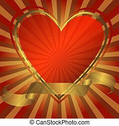 hjärta, abstrakt, bakgrund