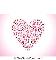 hjärta, abstrakt, punkterat