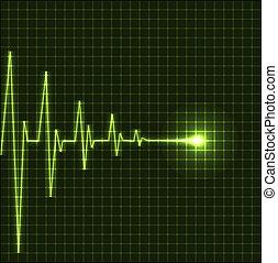 hjärta, abstrakt, taktslagen, kardiogram
