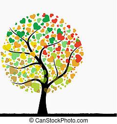 hjärta, abstrakt, träd
