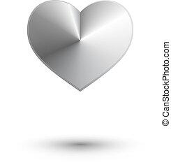 hjärta, abstrakt, vektor, metall, 3