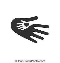 hjärta, affär, logo, abstrakt, barn, symbol., hand, svart, mall, räcker, design, omsorg, template., ikon