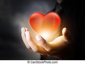 hjärta, affärsman, röd, glas, hand