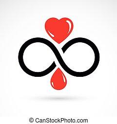 hjärta, använda, oändlighet, kardiologi, medicinsk, symbol...