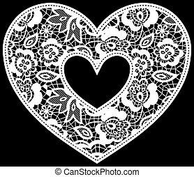 hjärta, applique, spets, bröllop