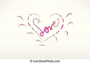 hjärta, avbild, vektor, kärlek