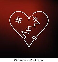 hjärta, bakgrund, ikon, röd, bruten
